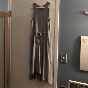 Grey cotton high low casual dress with pockets